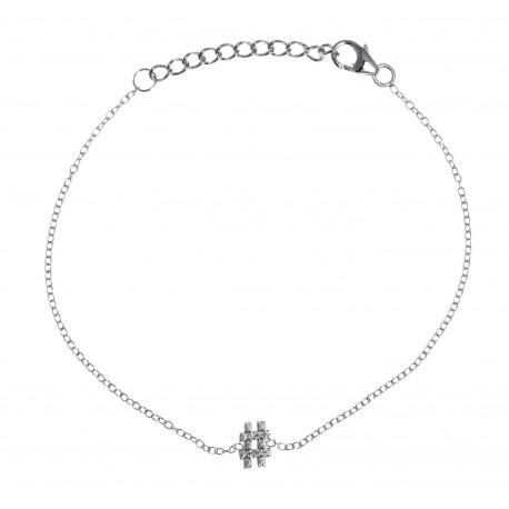 Bracelet argent rhodié 1,2g - hashtag - zircons - 17+3cm