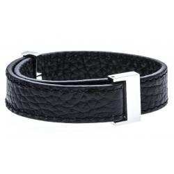 Bracelet acier cuir noir - largeur 1cm - longueur 22cm