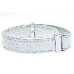 Bracelet acier cuir blanc - largeur 1cm - longueur 22cm