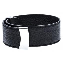 Bracelet acier cuir noir - largeur 2cm - longueur 23,5cm