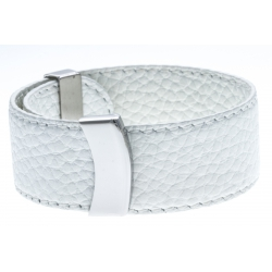 Bracelet acier cuir blanc - largeur 2cm - longueur 23,5cm