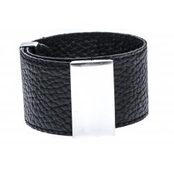 Bracelet acier cuir noir - largeur 3cm - longueur 23,5cm