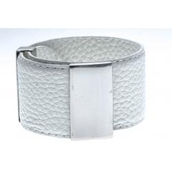 Bracelet acier cuir blanc - largeur 3cm - longueur 23,5cm
