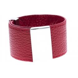 Bracelet acier cuir rouge - largeur 3cm - longueur 23,5cm