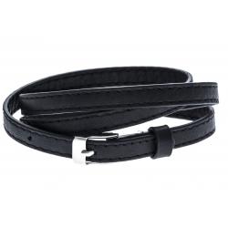 Bracelet acier cuir noir - 3 rangs de 0,8cm réglable