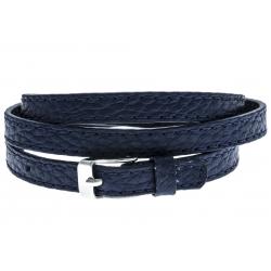 Bracelet acier cuir bleu - 3 rangs de 0,8cm réglable