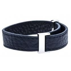 Bracelet acier cuir bleu foncé - largeur 1cm - longueur 22cm