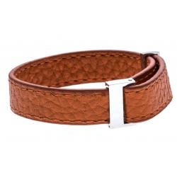 Bracelet acier cuir orange - largeur 1cm - longueur 22cm