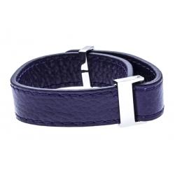 Bracelet acier cuir violet - largeur 1cm - longueur 22cm