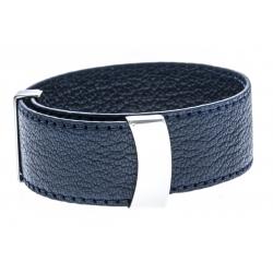 Bracelet acier cuir bleu foncé - largeur 2cm - longueur 23,5cm