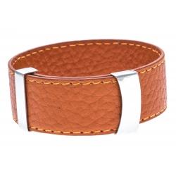 Bracelet acier cuir orange - largeur 2cm - longueur 23,5cm
