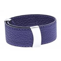 Bracelet acier cuir violet - largeur 2cm - longueur 23,5cm