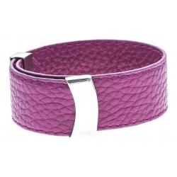 Bracelet acier cuir rose - largeur 2cm - longueur 23,5cm
