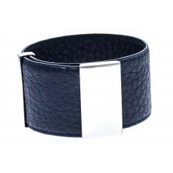 Bracelet acier cuir bleu foncé - largeur 3cm - longueur 23,5cm