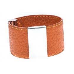 Bracelet acier cuir orange - largeur 3cm - longueur 23,5cm