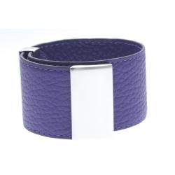 Bracelet acier cuir violet - largeur 3cm - longueur 23,5cm