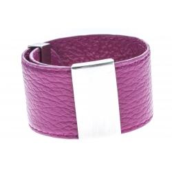 Bracelet acier cuir rose - largeur 3cm - longueur 23,5cm