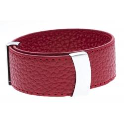 Bracelet acier cuir rouge - largeur 2cm - longueur 23,5cm