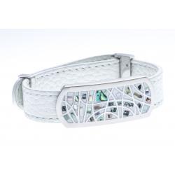Bracelets acier bracelet acier cuir nacre abalone - largeur 1cm - longueur 22cm