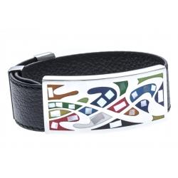 Bracelet cuir nacre et strass - largeur 2cm - longueur 23,5cm