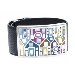 Bracelet acier émail, nacre et cuir noir - largeur 3cm - longueur 23,5cm