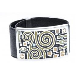 Bracelet en acier - émail - nacre- cuir noir - largeur 3cm - longueur 23,5cm