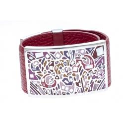 Bracelet acier - émail - nacre - cuir rouge - largeur 3cm - longueur 23,5cm