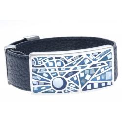 Bracelet acier - émail - nacre - cuir bleu foncé - largeur 2cm - longueur 23,5cm