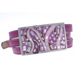 Bracelet acier - émail - nacre - cuir violet - 3 rangs de 0,8cm réglable