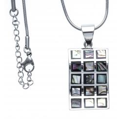 Collier en acier - émail - nacre - fermoir magnétique - 40 cm
