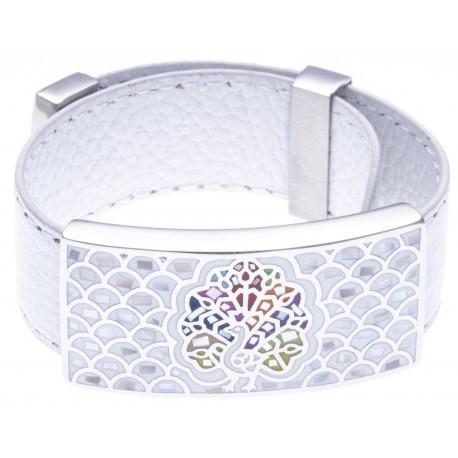 Bracelet acier - émail - nacre - cuir blanc - largeur 2 cm - longueur 23,5cm