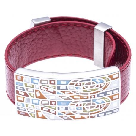 Bracelet acier - émail - nacre - cuir rouge - largeur 2 cm - longueur 23,5cm