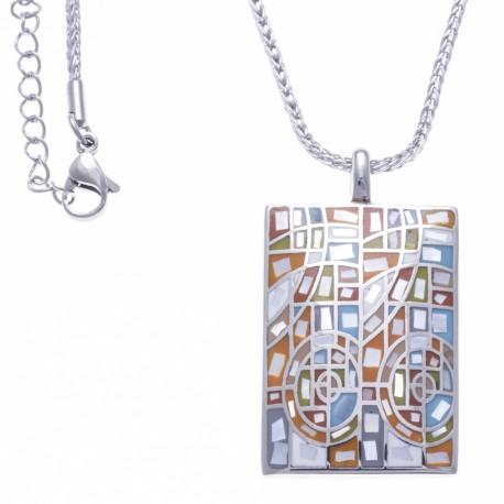 Collier en acier - email - nacre - 45+5cm