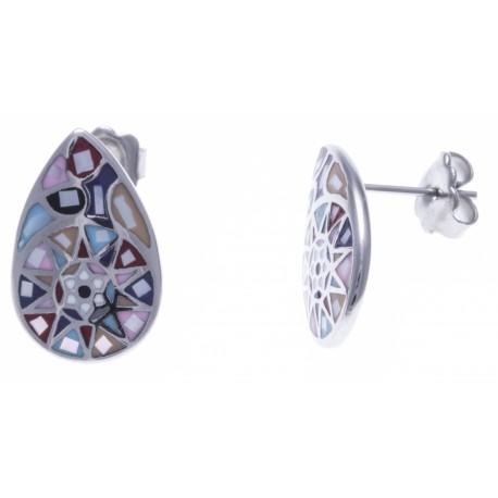 Boucles d'oreille acier - nacre - email
