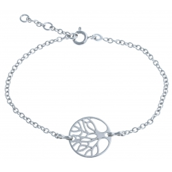 """Bracelet argent rhodié 3g """"arbre de vie"""" - 17+1+1cm"""