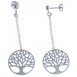 """Boucles d'oreille argent rhodié 4,2g """"arbre de vie"""" - chaine 2,5cm"""