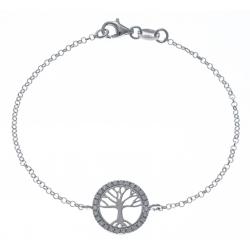"""Bracelet argent rhodié 2,7g - """"arbre de vie"""" – zircons - 18,5 cm"""