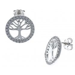 """Boucles d'oreille argent rhodié 3,1g - """"arbre de vie"""" - zircons - 44 c"""