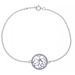 """Bracelet argent rhodié 1,9g - """"arbre de vie"""" - zircons - 17+1cm"""