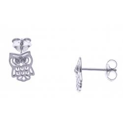 Boucles d'oreille argent rhodié 1g - chouette - zircons