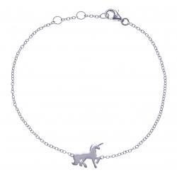 Bracelet argent rhodié 1,1g - licorne - zircons - 17+1+1+cm