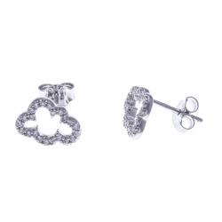 Boucles d'oreille argent rhodié 1,1g - nuage - zircons