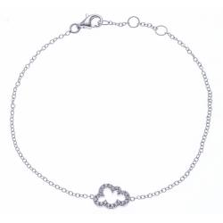 Bracelet argent rhodié 1,2g - nuage - zircons - 17+1+1+cm