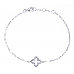 Bracelet argent rhodié 1,2g - fleur marocaine - zircons - 17+1+1+cm