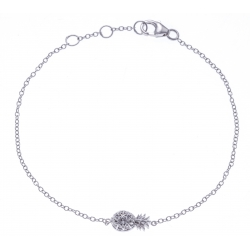 Bracelet argent rhodié 1,2g - ananas - zircons - 17+1+1+cm