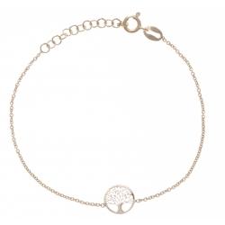 Bracelet argent rhodié 1,3g - arbre de vie - doré - 17+3cm