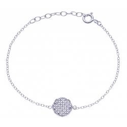 Bracelet argent rhodié 1,3g - rond diamètre 10mm - zircons - 15+3cm