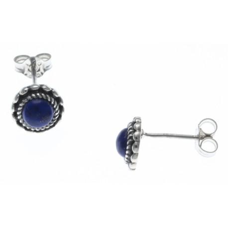 Boucles d'oreille argent rhodié 1,6g - lapis lazuli