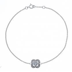 Bracelet argent rhodié 1,7g - zircons - 18+1cm