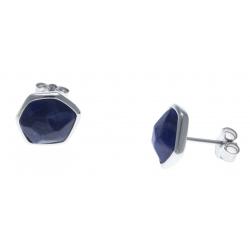 Boucles d'oreille argent rhodié 1,7g - sodalite